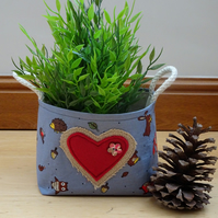 Woodland Animal, Hessian Heart Basket. Handmade with Woodland Animal Fabric.