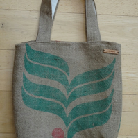 Coffee Sack Hessian Tote Shoulder bag. Handmade with recycled fabric & jute.
