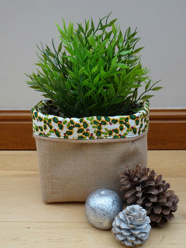 Christmas Hessian Basket. Handmade basket with Green Holly lining.