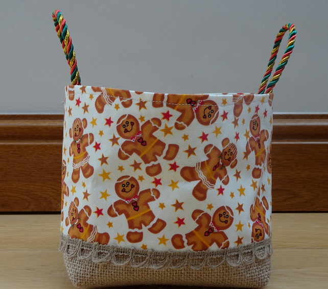 Christmas Gingerbread Man Basket. Gold Fabric Lined Handmade Christmas Basket.