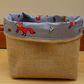 Woodland Animal Hessian Basket. Handmade basket with Animal Fabric Lining.