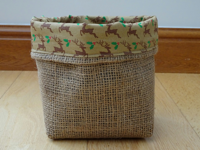 Christmas Reindeer Hessian Basket. Handmade basket with Reindeer lining.