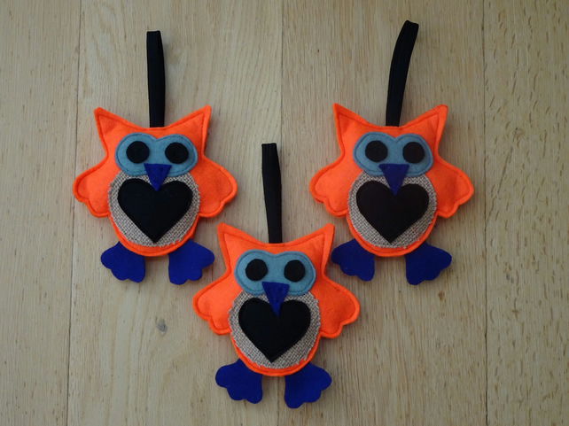 Orange Owl Decoration. Felt and Hessian Owl