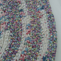 Hand Crocheted Rag Rug - Multi-Coloured Circular