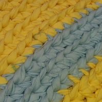 Hand Crocheted Rag Rug - Blue & Yellow