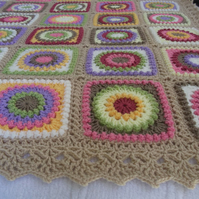 Hand Crocheted Double Size Throw - Circle of Friends