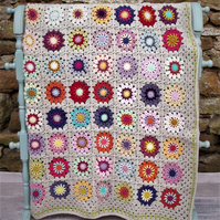 Crochet Throw - Flowers in the Corn - Double Size