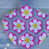 African Flower Hot Water Bottle, White Pink on Grey, Free UK Postage