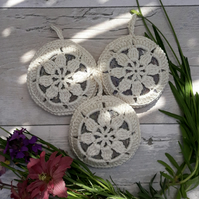 Crochet Flower Wheel Lavender Bags-- set of three