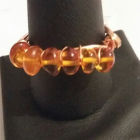 Adjustable Amber and copper ring