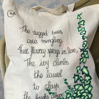 FREE UK P&P - Recycled Cotton Tote bag - IVY