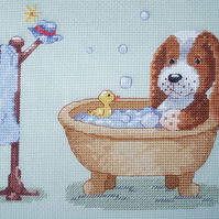 KL105 Arthur's Bath - Dog Cross Stitch Kit designed by Genny Haines