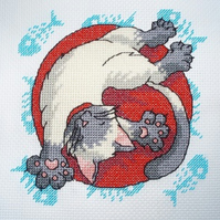 KL34 Well Fed! Cat Cross Stitch Kit designed by Vanessa Wells