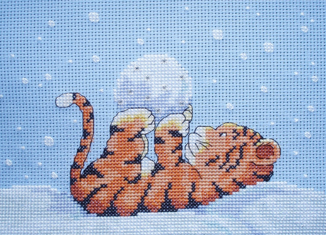 KL54 Toto in the Snow Tiger Cross Stitch Kit designed by Genny Haines