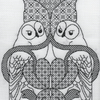 KL154 The Owl Blackwork Needlework Kit inspired by the work of Charles Voysey