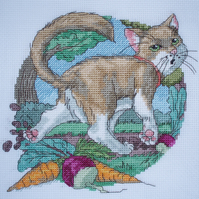 KL86 Well Dug Cat Cross Stitch kit designed by Vanessa Wells