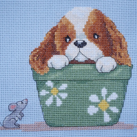 KL52 In the Flower Pot  - Sam & Peeps Cross Stitch Kit designed by Genny Haines