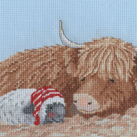 KL161 Spring Highland Family Cross Stitch Kit designed by Genny Haines