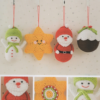 DMC Festive Tree Decorations Crochet Pattern - Snowman, Santa, Pudding, Star