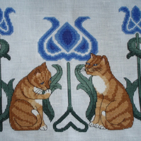 KL17 Tile Cats Cross Stitch Kit by Goldleaf Needlework