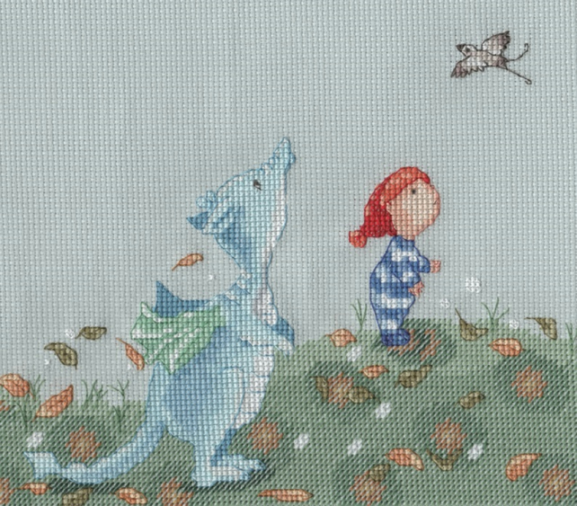 KL165 Walking with Dragon Cross Stitch Kit designed by Genny Haines