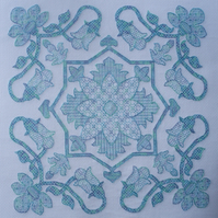 KL1170 Floral Blackwork Needlework Kit inspired by William De Morgan Tile design