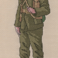 KL144 WW1 Soldier Cross Stitch Kit designed by Vanessa Wells