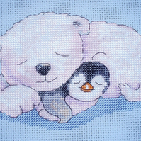 KL77 Snuggles - Polar Bear & Penguin Cross Stitch Kit designed by Genny Haines