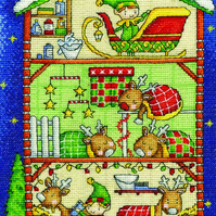 DMC BK1698 Reindeer Barn Cross Stitch Kit designed by Durene Jones