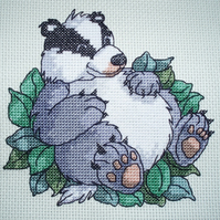 KL62 Set in his Ways! Badger Cross Stitch Kit designed by Vanessa Wells