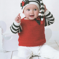 DMC Festive Baby Jumper and Beanie Hat Crochet Pattern