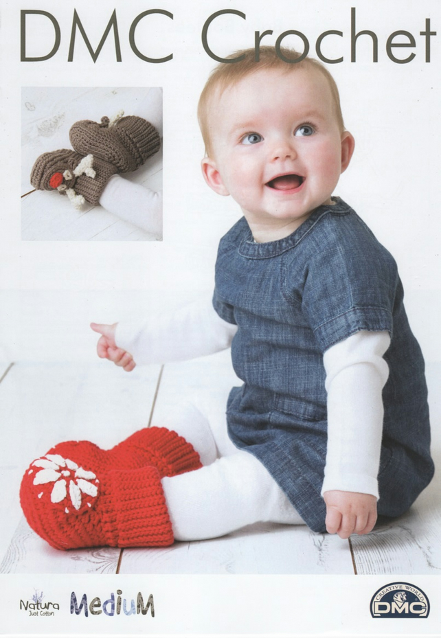 DMC Festive Baby Bootees Crochet Pattern - Reindeer and Snowflake