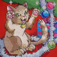 KL57 Well Wrapped! Cat Cross Stitch kit designed by Vanessa Wells