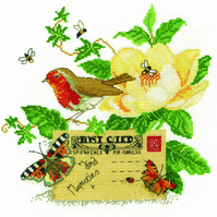 DMC BK1660 Robin Cross Stitch Kit designed by Lesley Teare