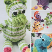 DMC Amigurumi Safari Animals Crochet Pattern Booklet -  Lion, Zebra, Giraffe