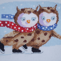 KL117 Skating on Ice! Owls Cross Stitch Kit designed by Genny Haines