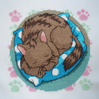 KL33 Well Tired! Cat Cross Stitch Kit designed by Vanessa Wells