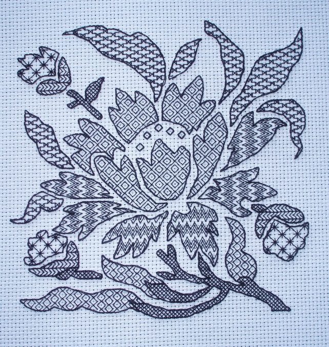 KL129 Blackwork Stencil Flower Kit designed by Goldleaf Needlework
