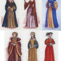 The Six Wives of Henry VIII Cross Stitch Chart Pack designed by Vanessa Wells