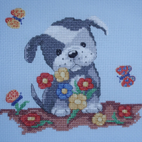 KL107 Bruce's Garden  - Dog Cross Stitch Kit designed by Genny Haines