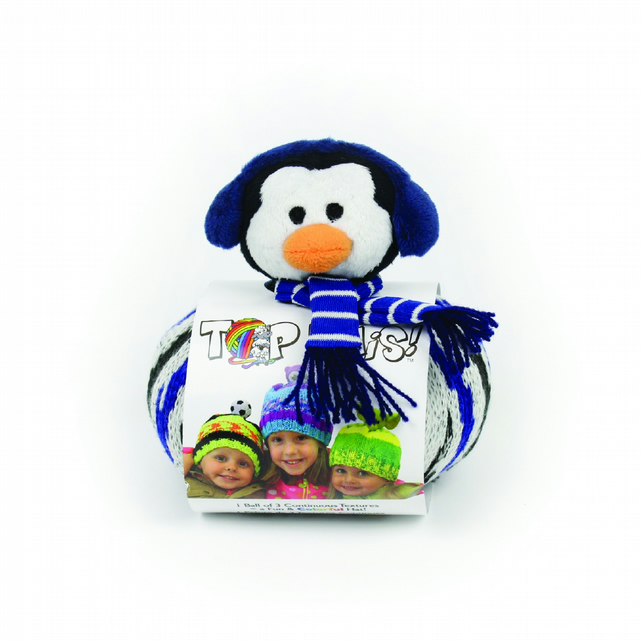 DMC Top This Penguin Knitted Hat Kit includes pattern, yarn and character