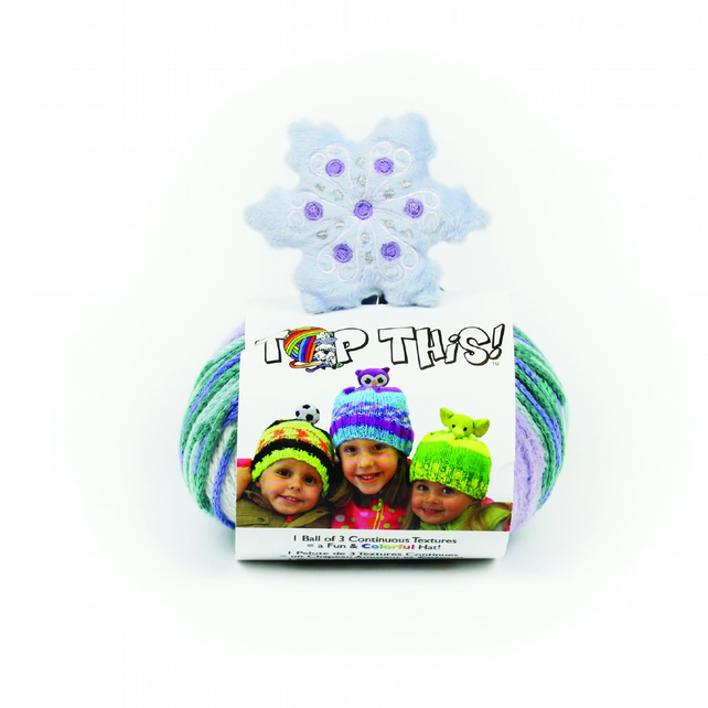 DMC Top This Snowflake Knitted Hat Kit includes pattern, yarn and character
