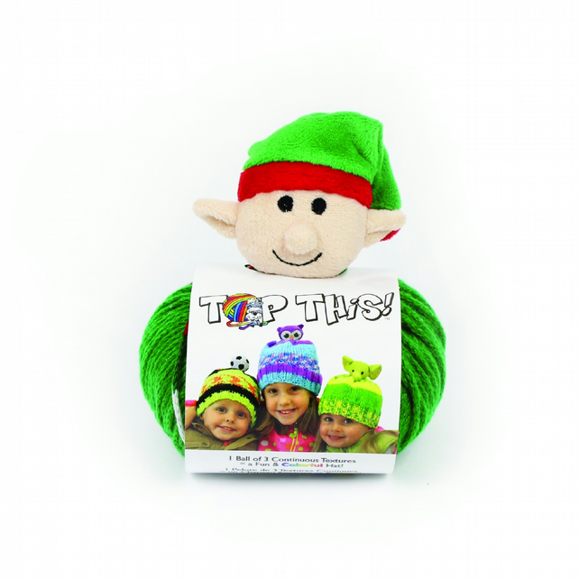 DMC Top This Elf Knitted Hat Kit includes pattern, yarn and character