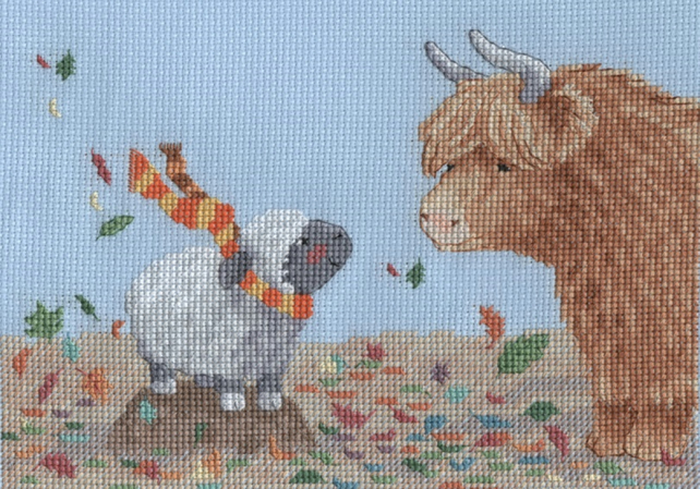 KL163 Autumn Highland Family Cross Stitch Kit designed by Genny Haines