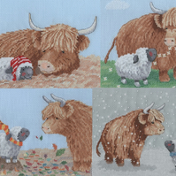 Highland Family The 4 Seasons Cross Stitch Chart Pack designed by Genny Haines