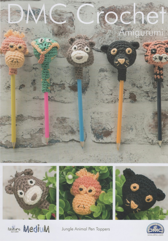 Crochet Patterns Jungle Animals : DMC Jungle Animal Pen Toppers Amigurumi Crochet... - Folksy