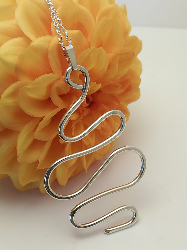 Elegant Sterling silver pendant, abstract wave design