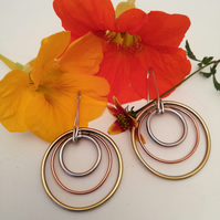 Copper, Silver & Brass hooped earrings