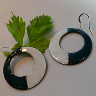 Vitreous enamel on copper in green and white with solid silver ear hooks