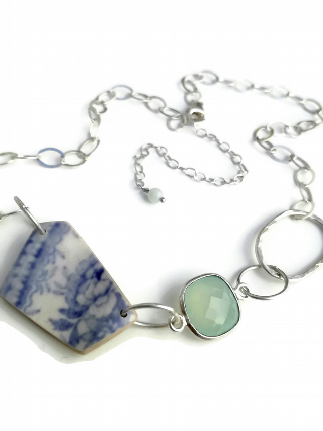Sterling Silver Asiatic Pheasant Pottery Shard and Chalcedony Necklace
